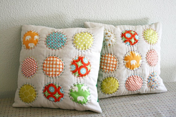 Circles Hand Stitched on Linen Pillow Cover