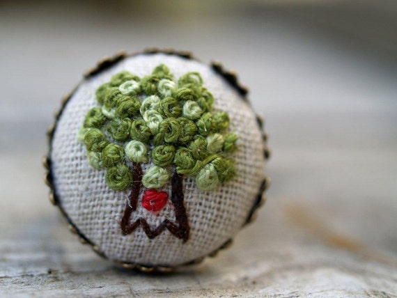 Tiny Embroidered Tree Ring