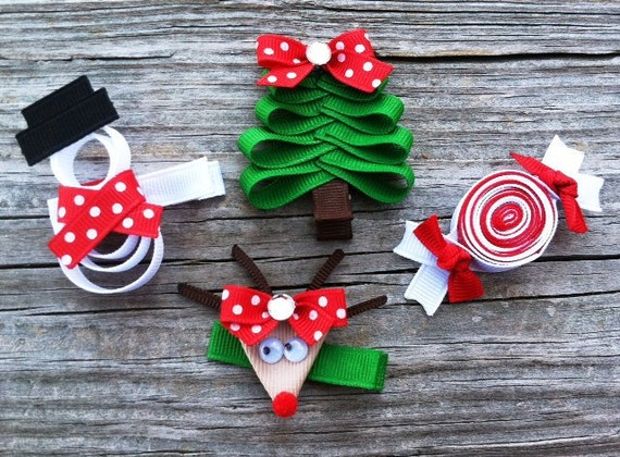 Set of 4.. Christmas Sculpture Hair Clip Set - Holiday Christmas Tree, Reindeer, Snowman, and Peppermint Candy - Free Shipping Promo