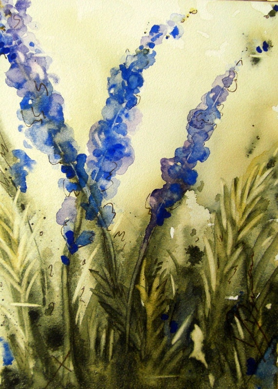 Lavender Watercolor Painting with Copper Easel  5 x 7 Original Botanical Art