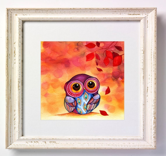 ORIGINAL Painting - Owls First Fall Leaves - by Annya Kai - Colorful Whimsical Animal Bird Artwork