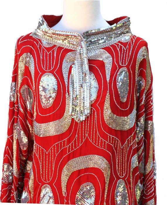 size M-L vintage red silk top