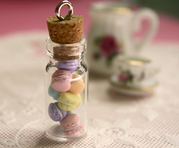 French macarons glass jar pendant