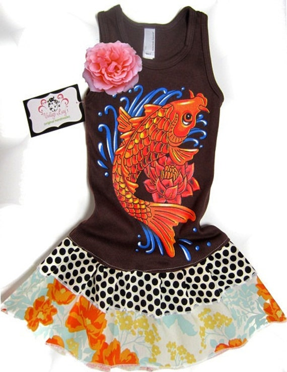 vintage lucy 39 s boutique clothing brand koi fish dress