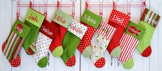 Set of 5 Christmas stockings choose your favorite 5 personalized