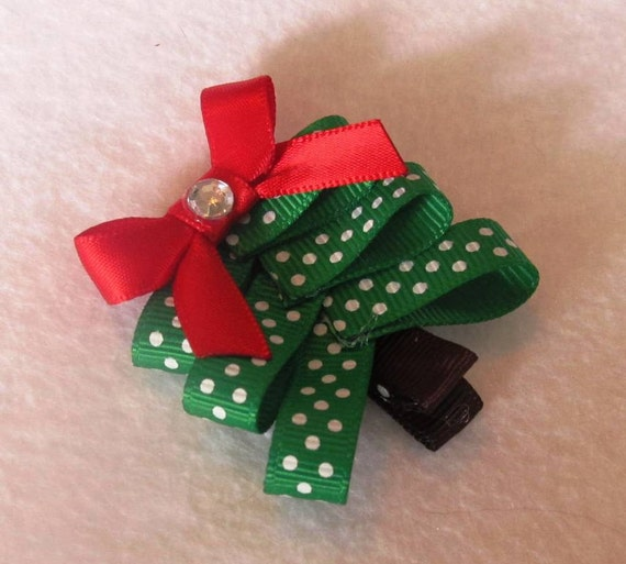 Evergreen and White Dots Christmas Tree Hair Clip with Red Bow