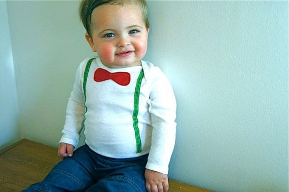 Baby First Christmas---Boy Christmas Outfit --First Christmas Boy Outfit--Vintage Bow Tie and Suspenders Onesie--Red and Green