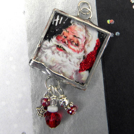 Santa Claus Necklace -  BELIEVE - Soldered Vintage Santa With Festive Red Beads