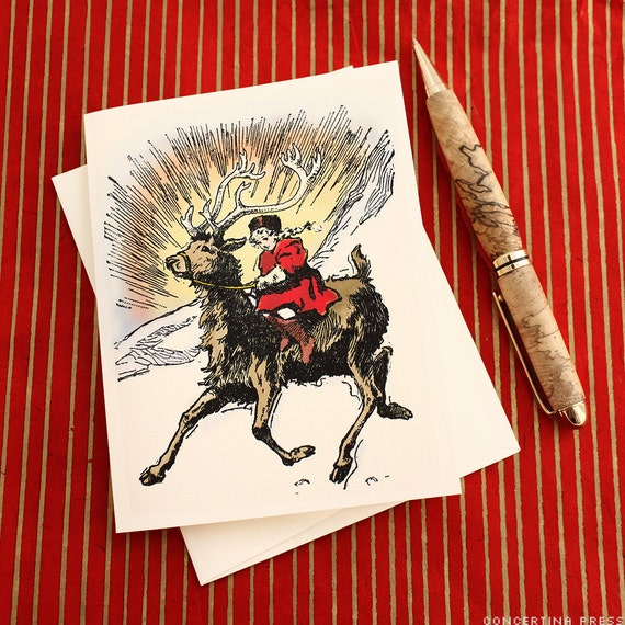Snow Queen Reindeer New Year's Card by Concertina Press- $14 for 8