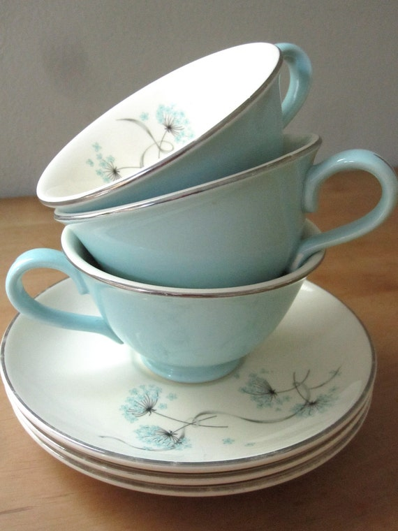Set of 3 Taylor Smith and Taylor Blue Lace Teacups and Saucers