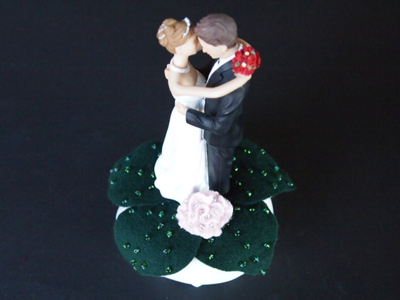 Wedding Cake Topper White Pink Rose Flower Leaves Bride Groom