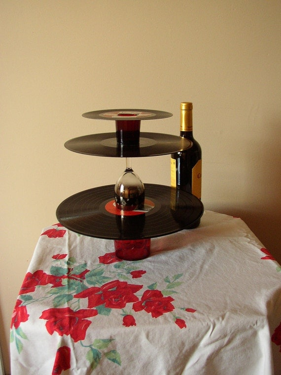 Three Tiered Dessert Stand,recycled records-Eco Friendly Functional Art