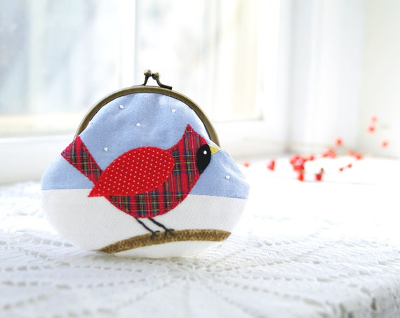 Christmas Cardinal Purse: Handmade Applique Cardinal Coin Purse- Holiday Gift For Her- Red Tartan, Blue, White- Winter Birdwatching