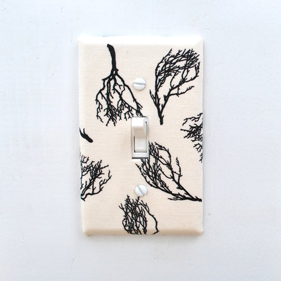 Light Switch Plate Cover - cream with black tree limbs, barren, sparce, minimalist, branch, twig, nature, natural