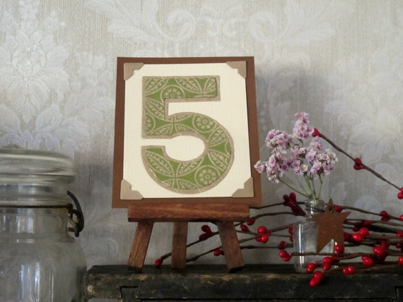 Custom Wedding Table Number Tiny Art w Easel Rustic VintageInspired