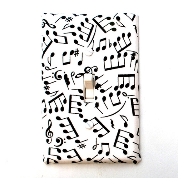 Light Switch Plate Cover, wall decor - white with black music notes, musical, instrumental, key, harmony, simple