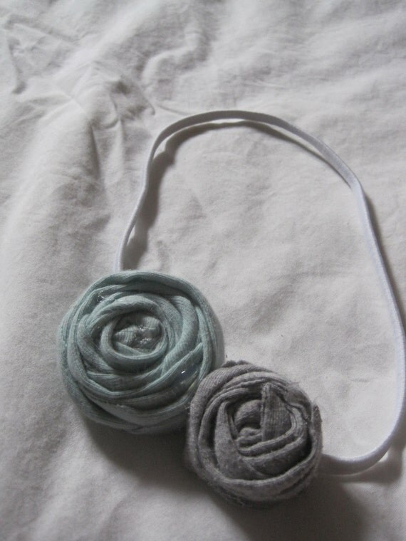 Cloudy Day Elastic Headband - Tiffany Blue, Grey, White
