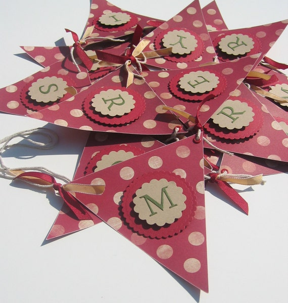 Merry Christmas Banner - Spotty Dotty Red - LAST ONE