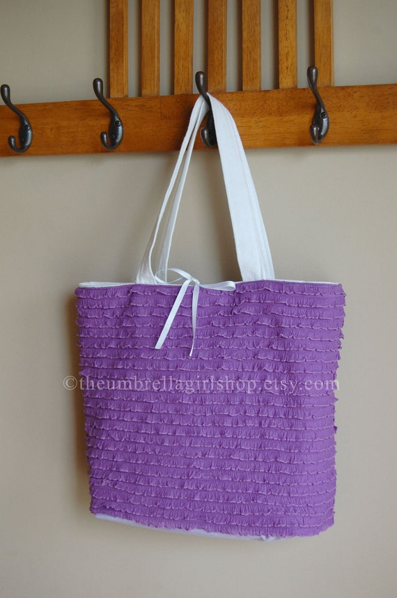 Mini Ruffled Fabric Tote Bag - LILAC