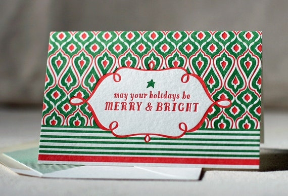 Letterpress Holiday Cards - Merry. Bamboo paper, patterned envelopes, set of 6 cards. 4G1T