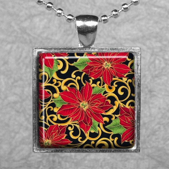 Elegant Christmas Poinsettias -- Square Silver Pendant Tray -- Buy 2, Get 1 Free
