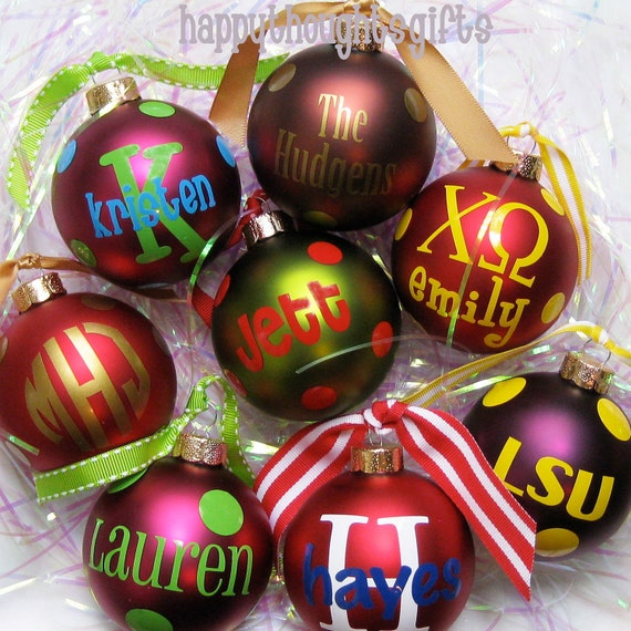 Four Personalized Christmas Ornaments