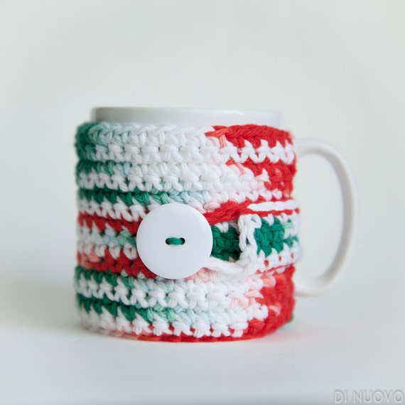 Christmas Mug Cozy Green Red White Holiday Cup Cozy