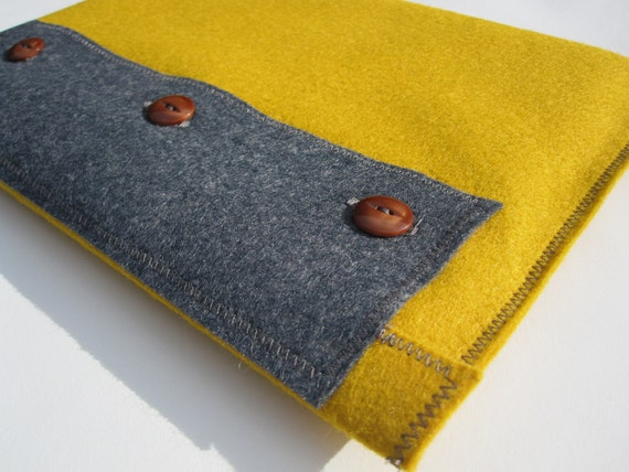 Yellow & Grey Wool Felt iPad Case with Vintage Brown Buttons