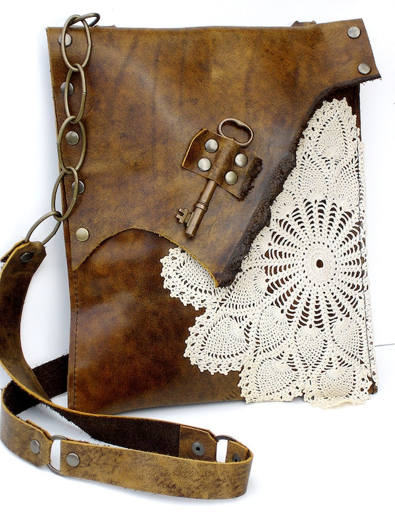 Boho Leather Messenger Bag with Crochet Doily and Antique Key - Medium Size - One Of A Kind
