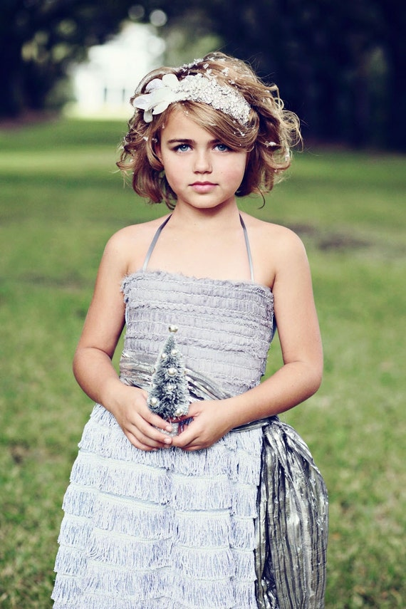 Dove Grey Vera Flapper Flower Girl Dress- With Hand Fed Tinsle Sash Example