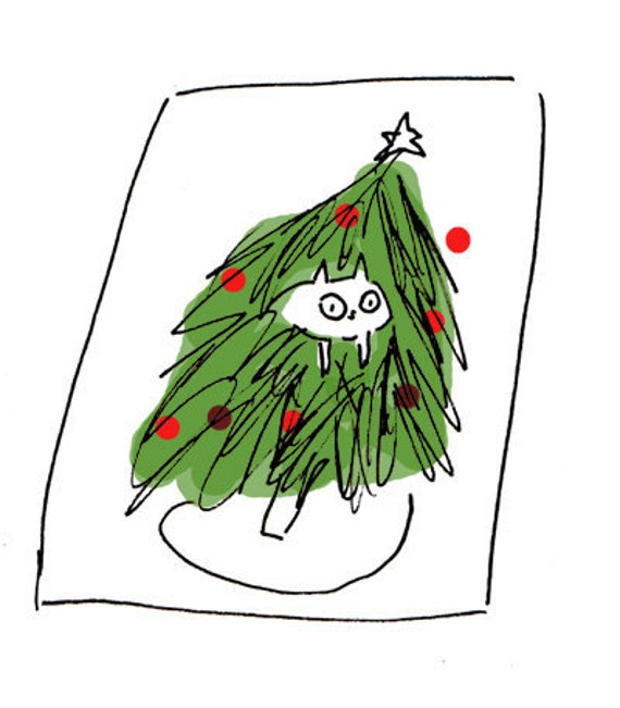 Christmas Cat Card, Set of 2