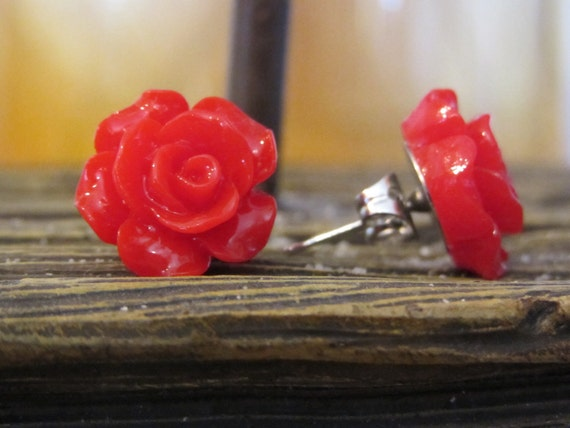 Scarletta Rose - Red Rose Stud Earring Resin Post Earring