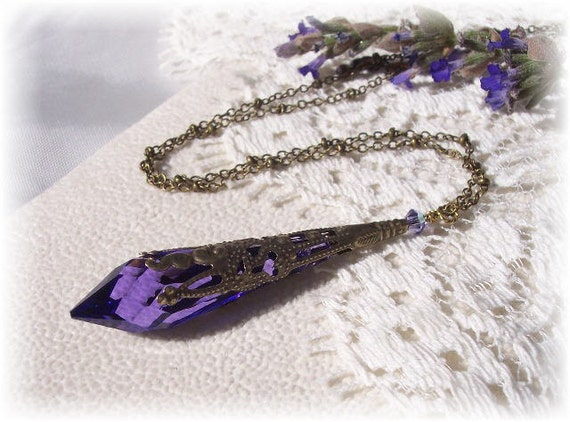 Purple/Tanzanite/Violet Vintaj Pendant Necklace