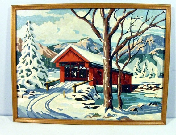 vintage paint by number - winter bridge - framed - 12 x 16