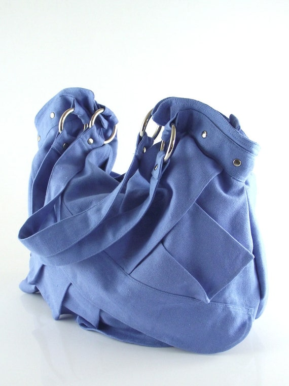 Turquoise canvas ruffle bag / tote / shoulder bag / kapong