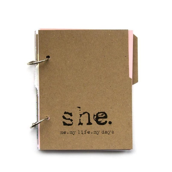 Recycled Paper Journal - She: Me, Myself, My Days with writing prompts in kraft pine tree bark brown
