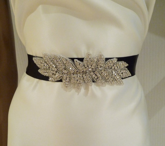 Bridal Rhinestone Sash, FRANCESCA, Crystal Sash, Bridal Belt, Black Sash, Ribbon Sash, Wedding Sash, Bridal Sash