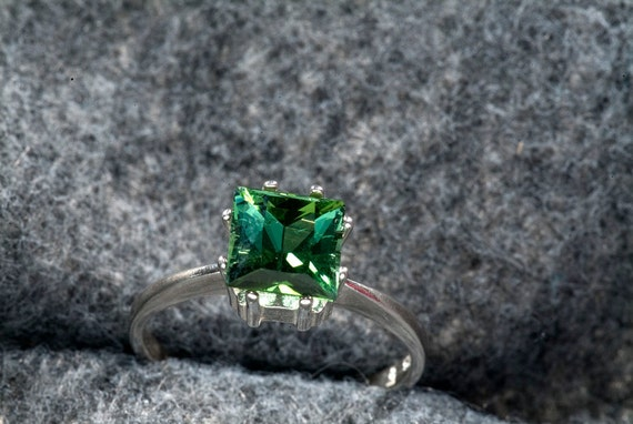 AAA  Deep Green Tourmaline 2 Ct. Square Cut Ring