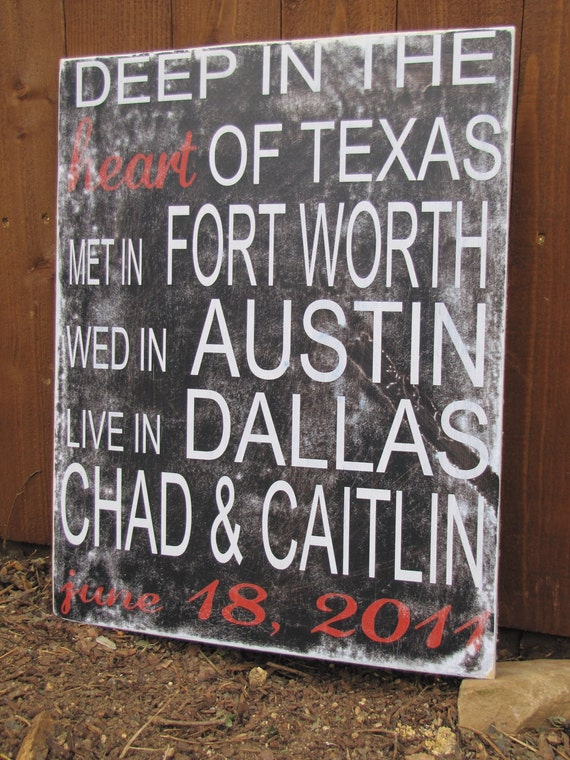 Personalized Wedding Gift - Deep In The Heart of Texas Art