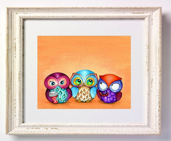 Autumn Owl Trio - Painting by Annya Kai - Colorful Fabric Birds with Berries and Starbucks Coffee