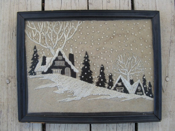 antique winter scene needlepoint wall hanging.  christmas snow framed needle work.
