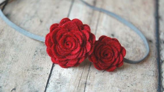 Baby Flower Headband - Felt Flower Headband In Dark Red - Large and Small Roses - For Baby to Adult