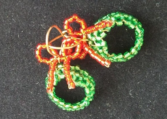 Beaded Christmas Wreath Earrings