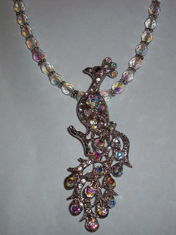SALE 30% Off-Unique One of a Kind Crystal AB Czech Crystal Peacock Pendant Necklace Gifts under 100