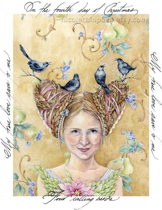 Four Calling Birds, set of 10 cards