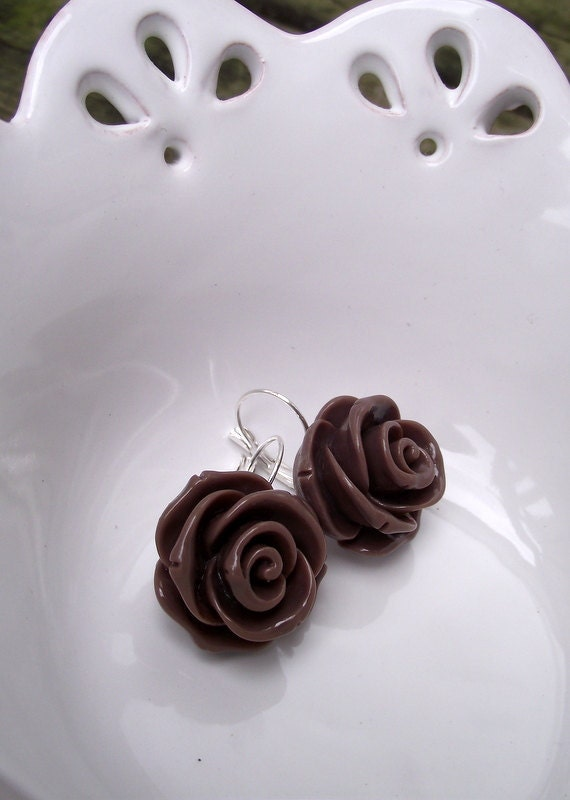 DANGLE EARRINGS - Large Icing Rose in Chocolate Brown