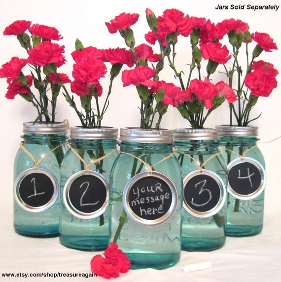 Chalkboard Wedding Table Numbers 5 Mason Jar Labels Mason Jar Wedding Party Centerpiece Handmade Upcycled Charms Only-No Jars