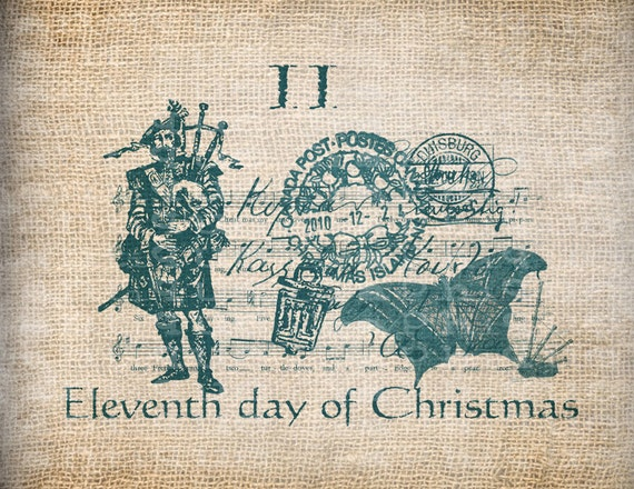 Antique AQUA Twelve Days of Christmas Eleventh Pipers Piping Postmarks Music Digital Download for Transfer, Pillows, etc Burlap No. 3407