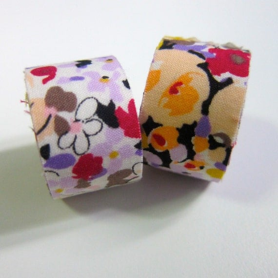 Self adhesive fabric masking tape / fabric sticker  - Floral lawn ( multi)