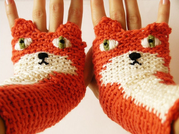 FOX GLOVES FINGERLESS Animal Hand Warmers Woodland Forest Crocheted Autumn Winter Wrist Orange Kids Adults Free Shipping Worldwide